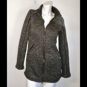 Avalanche gray heather knit zip up cozy warm heavy